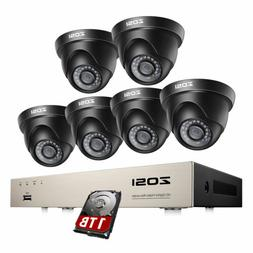 ZOSI H.265+ 8CH Security Camera System with Hard Drive 1TB 6