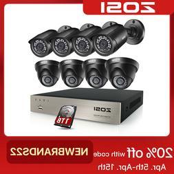 ZOSI 1080N CCTV 8CH DVR 720P HD IR Night Vision Security TVI