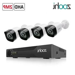 ZooHi 1080P HD 4CH DVR 2MP Outdoor Security Camera System Ho