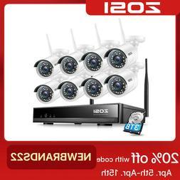 ZOSI 8CH HD 1080p Wireless Security IP Camera System 2MP WIF
