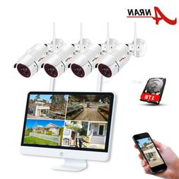"""ANRAN 15""""Monitor NVR Security Camera System Wireless 1080P H"""