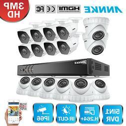 ANNKE 3MP 16CH Hybrid H.264+ DVR 16x Outdoor Security Camera