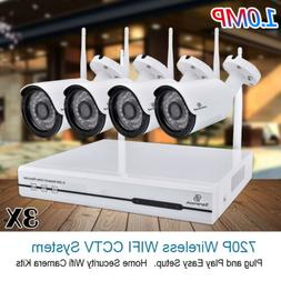 3X 1TB HDD Wireless Home Security Camera System WIFI 4CH 108