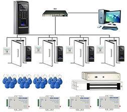 4 Doors Bio Fingerprint & RFID Time Attandance Security Cont