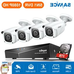 SANNCE Full 1080P 4CH DVR 2MP 3000TVL Video Outdoor CCTV Sec