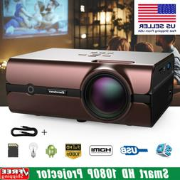 Smart HD 1080P Projector LED 4K Android 6.0 WiFi 3D Home Cin