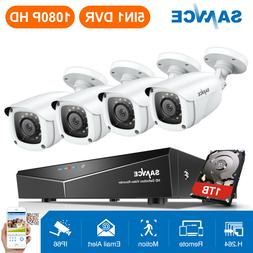 SANNCE 4CH 5IN1 DVR NO/1TB Outdoor 1080p Home Security Camer