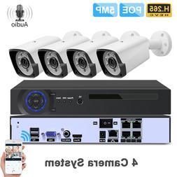 4CH 5MP POE Kit H.265 <font><b>System</b></font> CCTV <font>