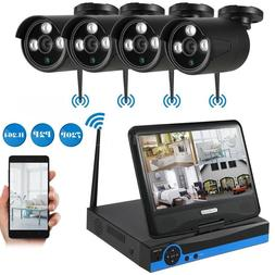 "Wireless Security System 4Pcs IP Camera with 10.1"" Monitor H"