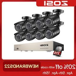 ZOSI H.265 8CH 5MP Lite DVR 1080P HD CCTV Security Camera Sy