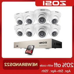 ZOSI 8CH 1080P DVR 2MP Outdoor Dome Day Night Security Camer