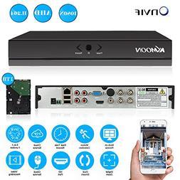 KKmoon 4 Channel Full 1080N 720P AHD DVR HVR NVR HDMI P2P Cl
