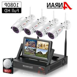 "4CH Wireless Security Camera System with DVR kits 7"" Monitor"