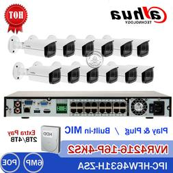 Dahua 4K 16CH POE NVR 6MP MIC Motorized Bullet Outdoor IP CC