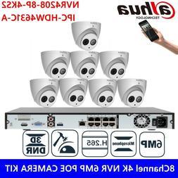 Dahua 8CH 8POE 6MP Bulit-in MIC H.265 IR Camera CCTV Surveil