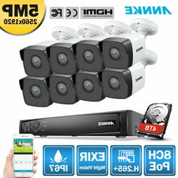 ANNKE 4K 8MP 8CH POE NVR Outdoor 5MP Security Camera System