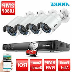 ANNKE 2MP HD POE Security Camera 4CH 6MP NVR Outdoor Surveil