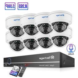 Techage 5MP H.265 POE NVR Dome Camera <font><b>System</b></f