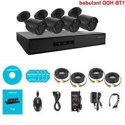 720P HD Security Surveillance System 4 Channel DVR w 4 Spotl