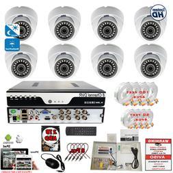 8 Channel Exterior Indoor Surveillance Security Camera Compl