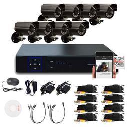8-Ch 1080N H Indoor/Outdoor DVR Kit 8pcs 720P 1/4 CMOS Camer