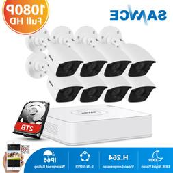 SANNCE 1080P HDMI 8CH DVR HD 2MP 3000TVL Security Camera Sys