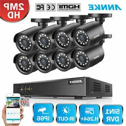 ANNKE 8CH 1080P Lite DVR 8x 2MP CCTV Outdoor Security Camera