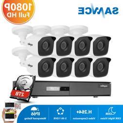 SANNCE 4CH 8CH 1080P Lite DVR 2MP CCTV IR Security Camera Sy
