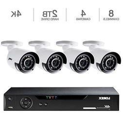 Lorex 8CH 4K DVR 2TB 4 UHD 4K Bullet Cameras, Security Syste