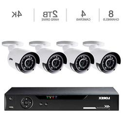 Lorex 8CH 4K DVR 2TB 4 UHD 4K Bullet Camera Security System