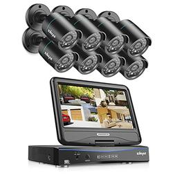 SANNCE 8CH AHD 720P DVR Recorder with built in 10.1 LCD moni