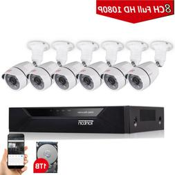 Tonton 8CH DVR 108P CCTV Security 2MP Camera HD System Surve
