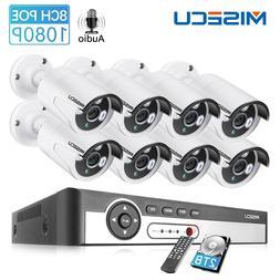 MISECU 8CH NVR 1080P 2MP IP Network POE Audio <font><b>Recor