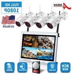 "ANRAN 8CH NVR 1TB Wireless CCTV Camera Security System 12""Mo"