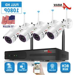 ANRAN 8CH 1080P WiFi NVR 4Pcs 960P Wireless Outdoor CCTV Sec
