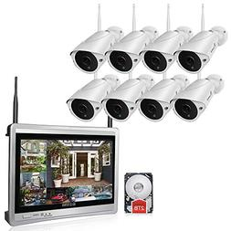 Luowice 8CH Wireless Audio Security Camera System with Built