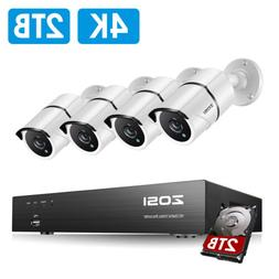 ZOSI 4K Ultra HD Security Cameras System 4CH H.265+ DVR with