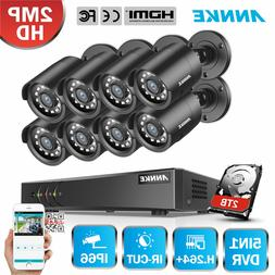 ANNKE 5in1 1080P Lite 8CH CCTV DVR HD 2MP 2000TVL IR Home Se