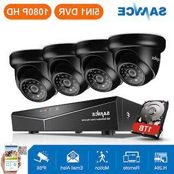SANNCE 1TB Hard Drive 1500TVL Outdoor 4CH DVR Video IR Secur