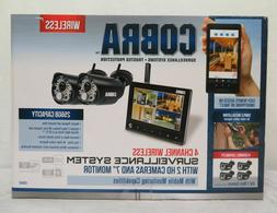SEALED Cobra 63842 4 Channel 2-HD Cameras & Monitor Surveill