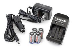 Tenergy 4 Pcs RCR123A 3.0V 600mAh Rechargeable Li-Ion Protec