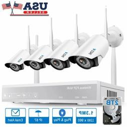 A-ZONE 1080P 4CH NVR Wifi Wireless IP Camera CCTV Security S