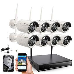 ONWOTE 1080P Full HD Wireless Security Camera System with 2T