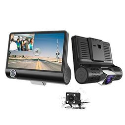 Car Dash Cam - 1080P HD 3 Channel Car Dashbord Camera, 140 D