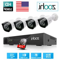 ZooHi CCTV Security System 1080p 2MP AHD Video Surveillance