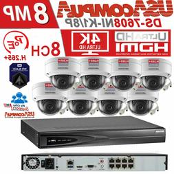 Hikvision NVR Kit Security System  whit 8  4MP Dome IP POE C