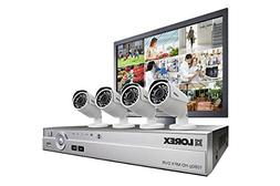 Complete 4 camera HD home security system with LED monitor