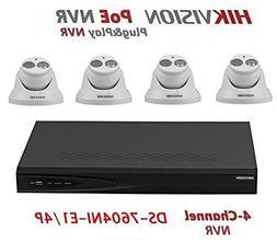 Hikvision DS-7604NI-E1/4P 4CH 4 POE NVR & 4pcs DS-2CD2342WD-