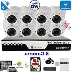 16 Channel HD DVR 8x HD 4in1 1080P Home CCTV Security Camera