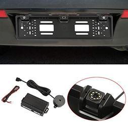 KKmoon European License Plate Frame Backup Camera 12 LED Rea